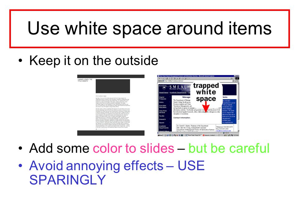 Use white space around items