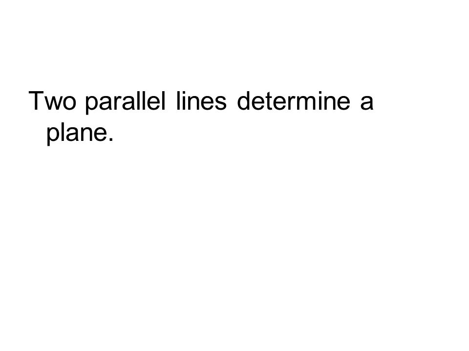 Two parallel lines determine a plane.