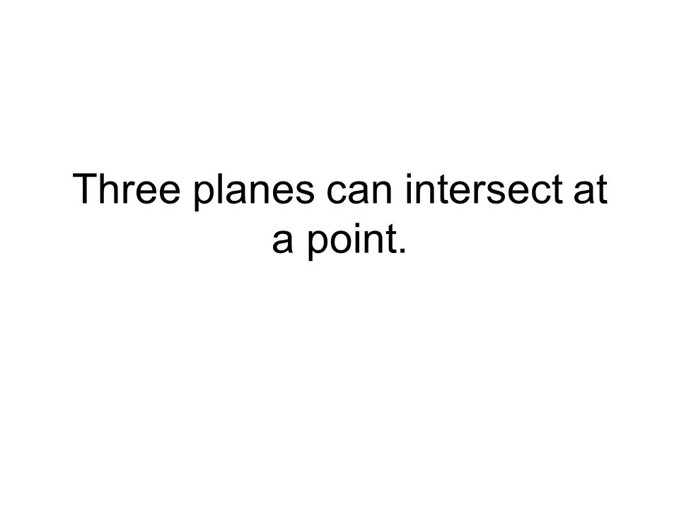 Three planes can intersect at a point.