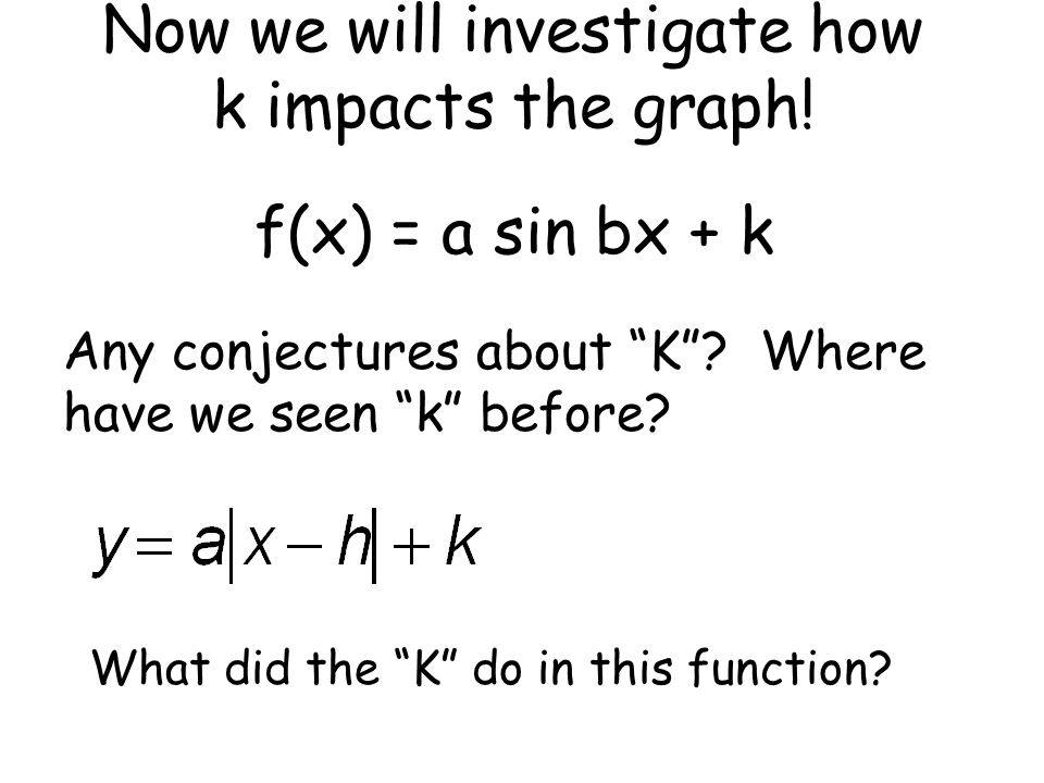 Now we will investigate how k impacts the graph!