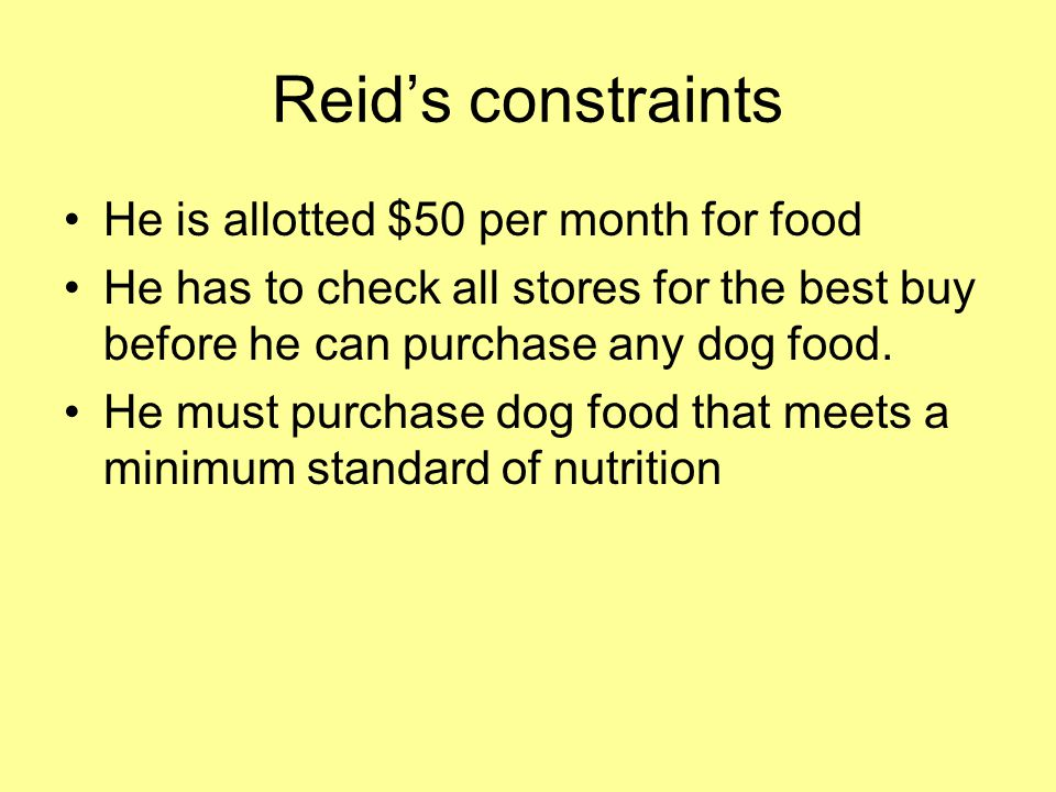 Reid's constraints He is allotted $50 per month for food