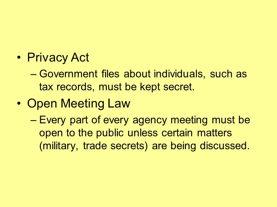 Privacy Act Open Meeting Law
