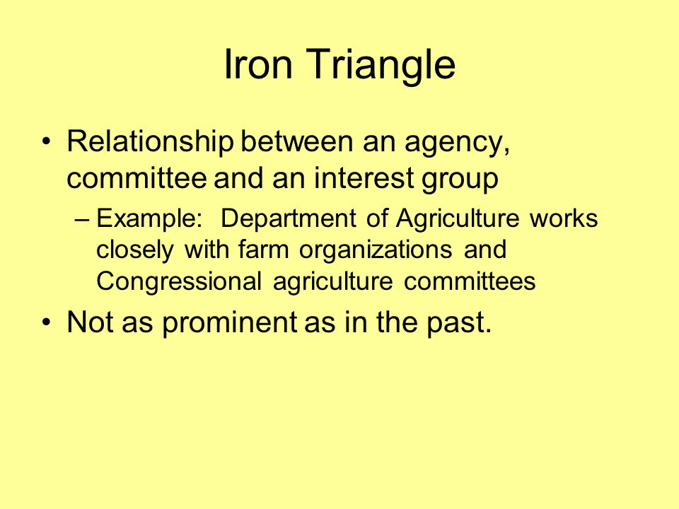 Iron Triangle Relationship between an agency, committee and an interest group.