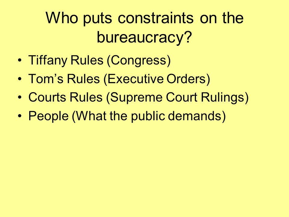 Who puts constraints on the bureaucracy