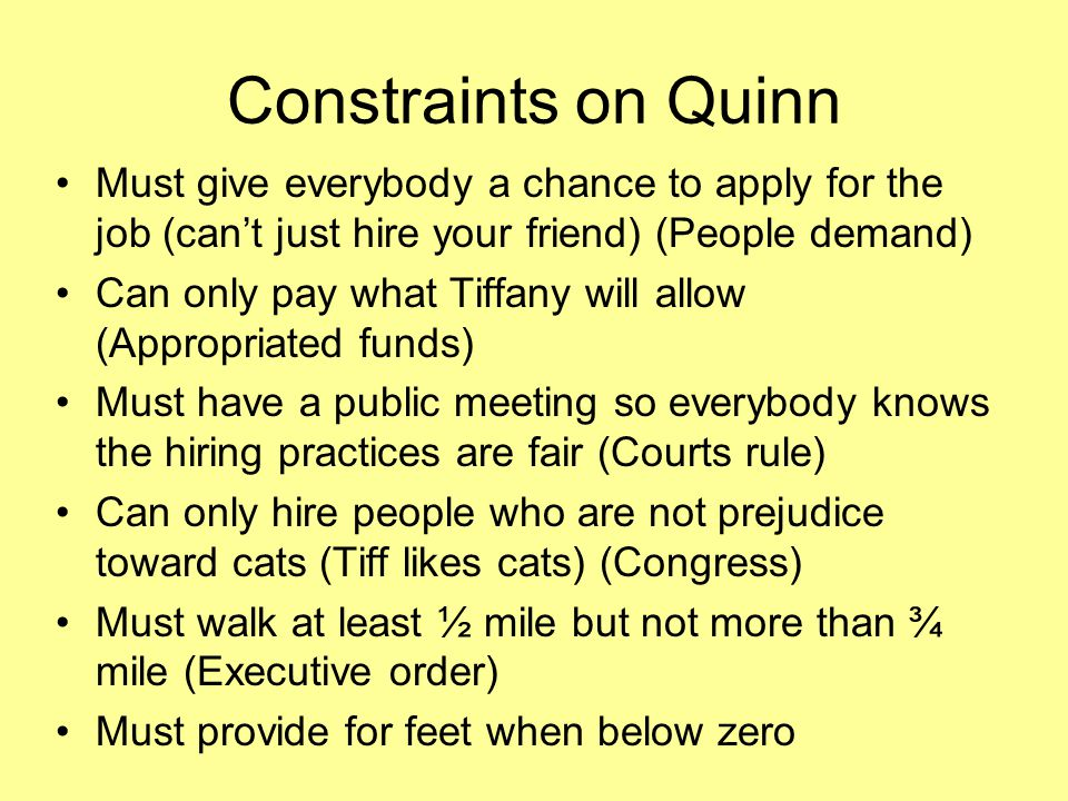 Constraints on Quinn Must give everybody a chance to apply for the job (can't just hire your friend) (People demand)