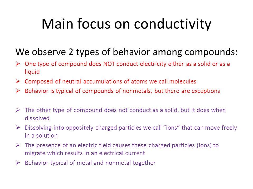 Main focus on conductivity