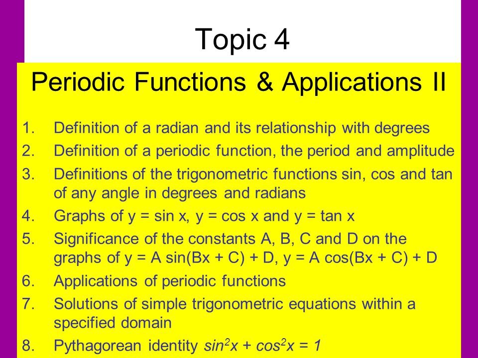 Periodic Functions & Applications II