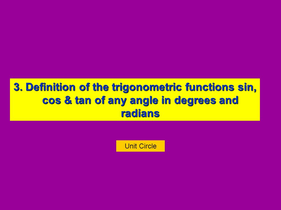 3. Definition of the trigonometric functions sin, cos & tan of any angle in degrees and radians