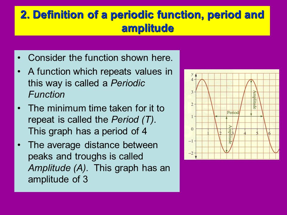 2. Definition of a periodic function, period and amplitude