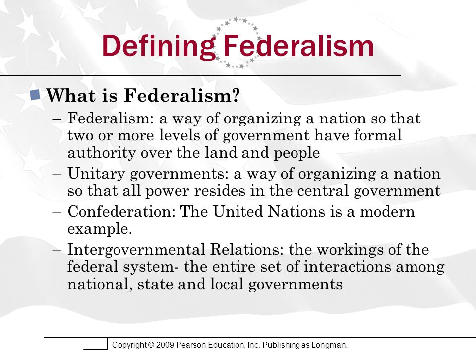 defining federalism Two important aspects of the us constitution federalism and the separation of powers represent federalism limits government by creating two sovereign powers the national government and state governments thereby restraining the influence of both.