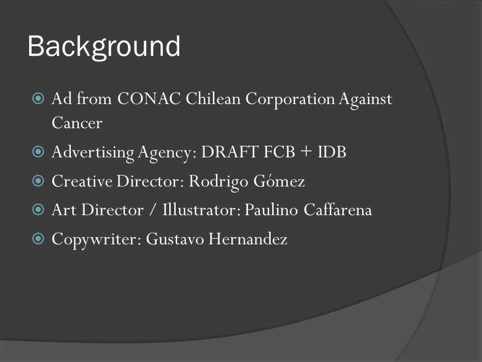 Background Ad from CONAC Chilean Corporation Against Cancer