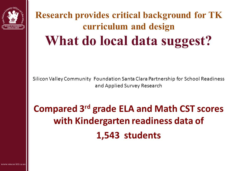 Research provides critical background for TK curriculum and design What do local data suggest