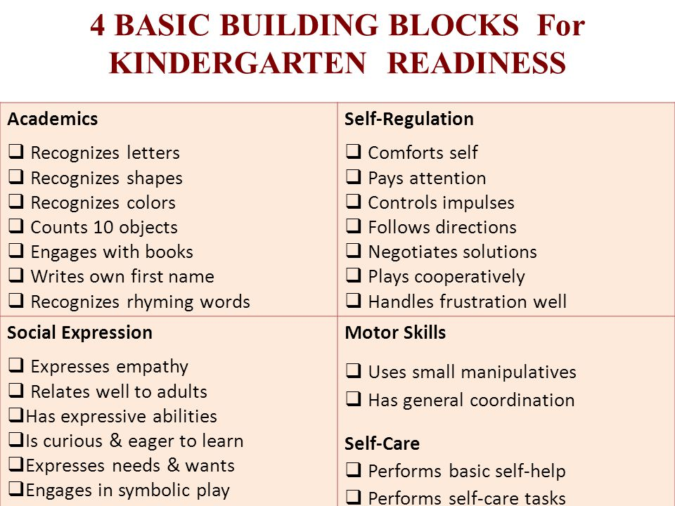 4 BASIC BUILDING BLOCKS For KINDERGARTEN READINESS