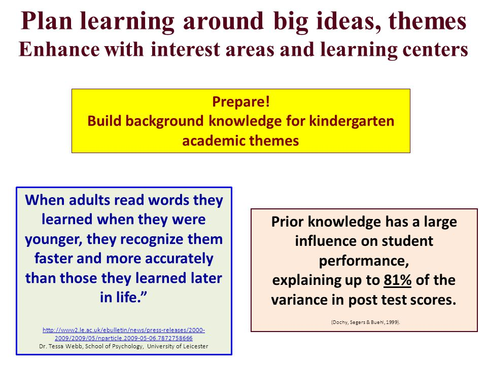 Plan learning around big ideas, themes Enhance with interest areas and learning centers