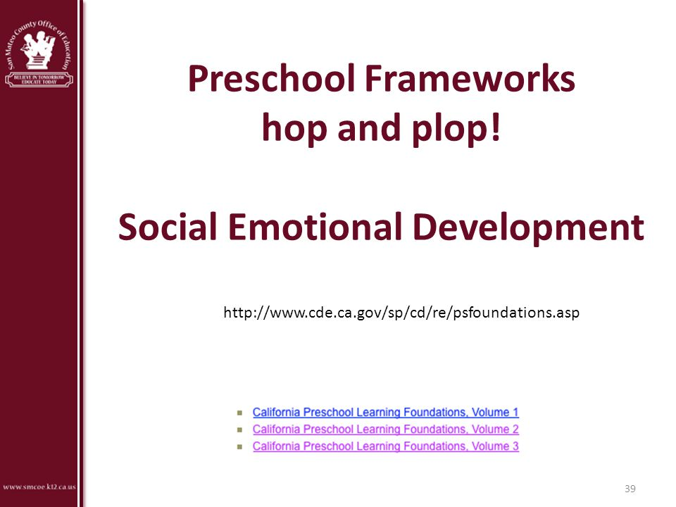 Preschool Frameworks hop and plop! Social Emotional Development