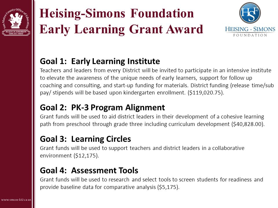 Heising-Simons Foundation Early Learning Grant Award