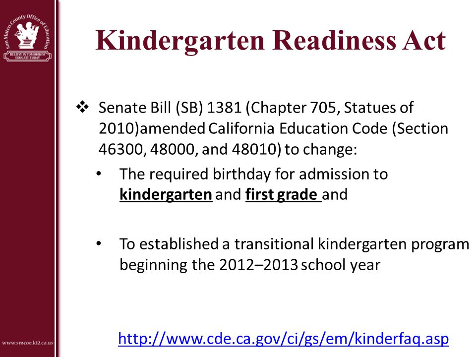 Kindergarten Readiness Act