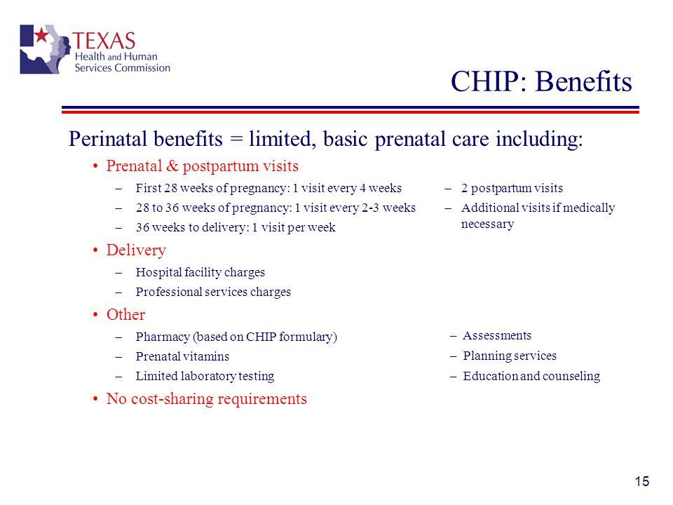 CHIP: Benefits Perinatal benefits = limited, basic prenatal care including: Prenatal & postpartum visits.