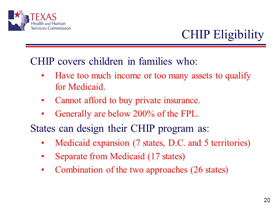 CHIP Eligibility CHIP covers children in families who: