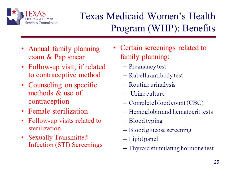 Texas Medicaid Women's Health Program (WHP): Benefits
