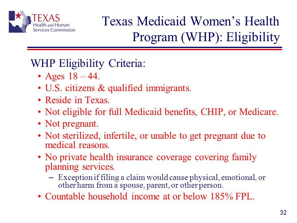 Texas Medicaid Women's Health Program (WHP): Eligibility