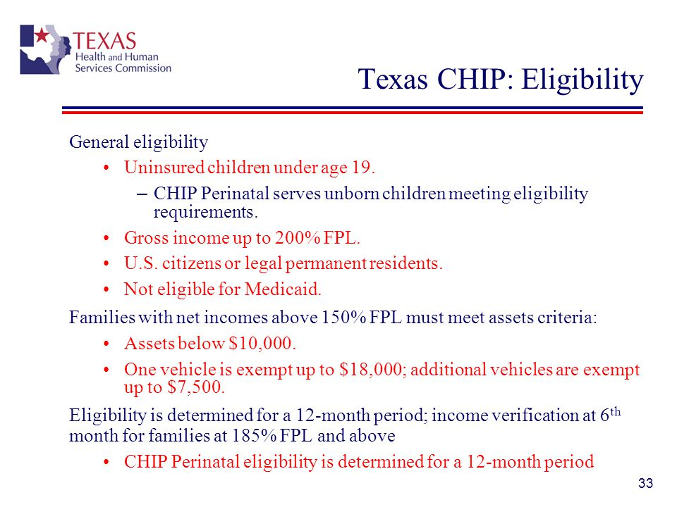 Texas CHIP: Eligibility