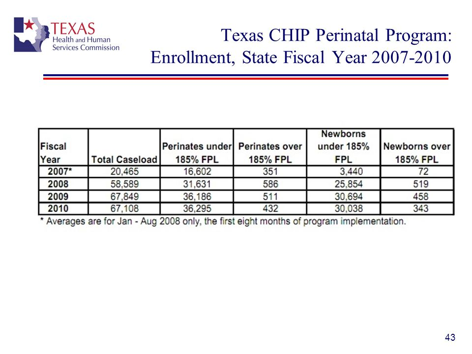 Texas CHIP Perinatal Program: Enrollment, State Fiscal Year 2007-2010