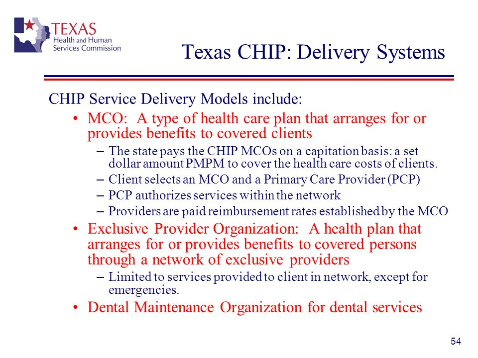 Texas CHIP: Delivery Systems