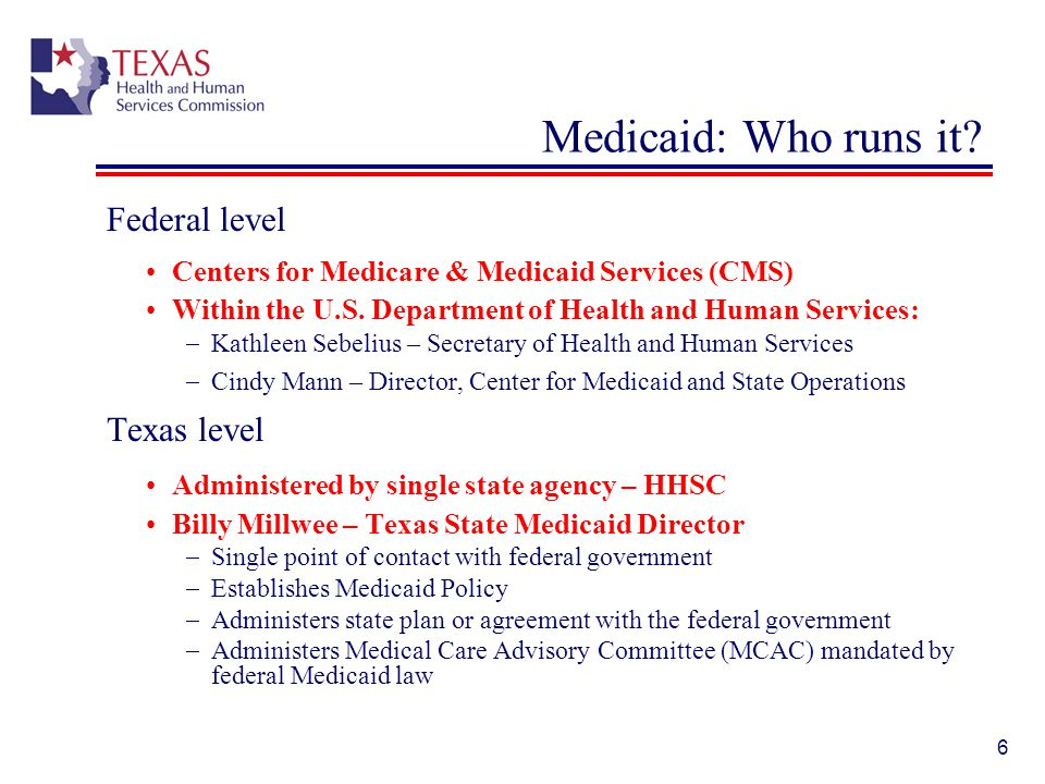 Medicaid: Who runs it Federal level Texas level