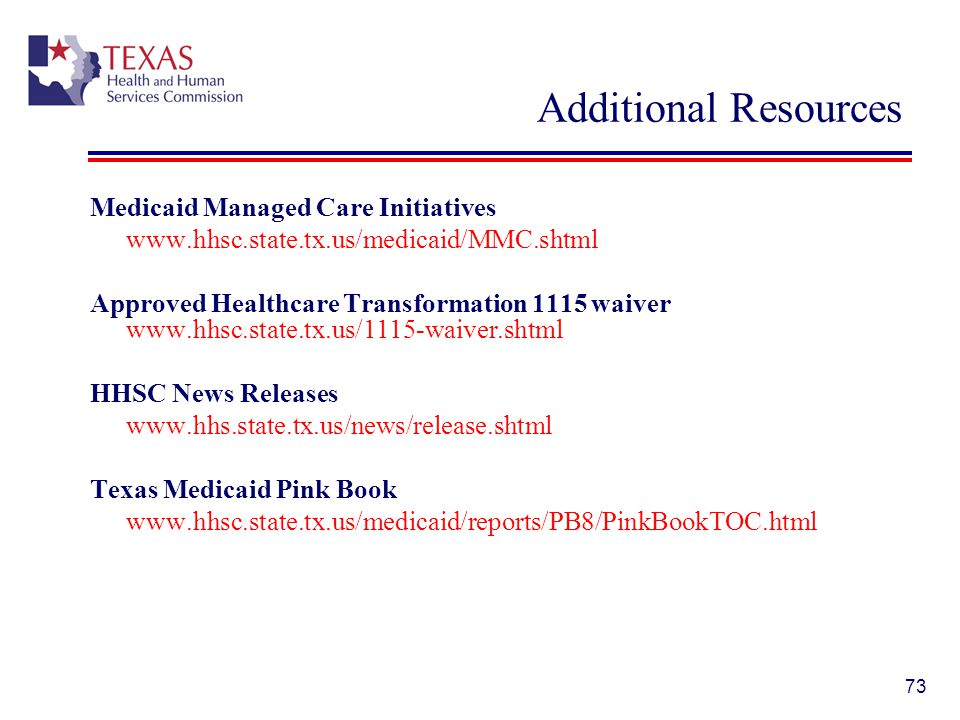Additional Resources Medicaid Managed Care Initiatives