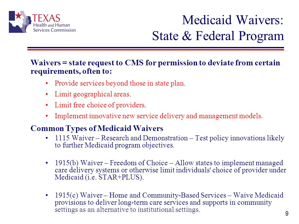 Medicaid Waivers: State & Federal Program