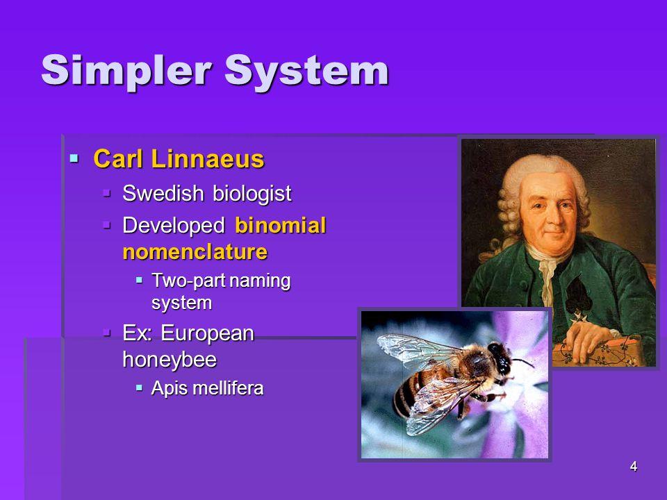 Simpler System Carl Linnaeus Swedish biologist