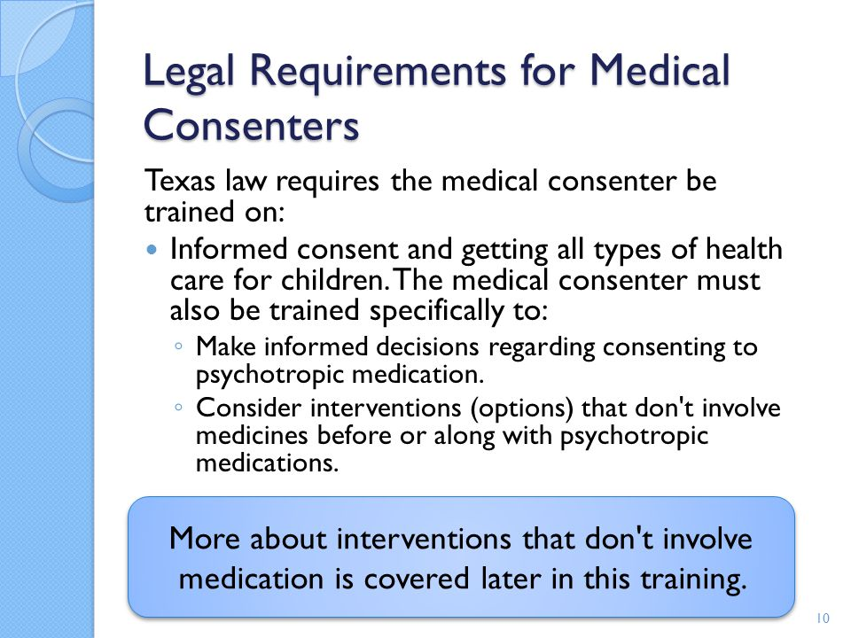 Legal Requirements for Medical Consenters