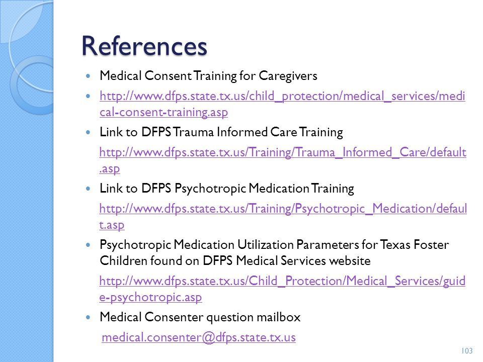 References Medical Consent Training for Caregivers