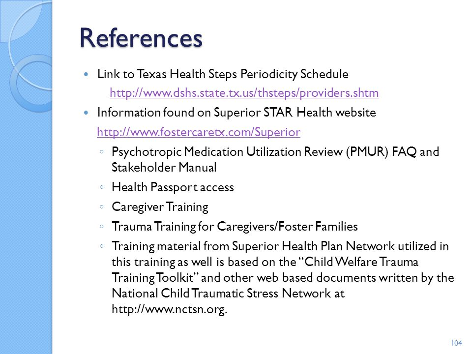 References Link to Texas Health Steps Periodicity Schedule