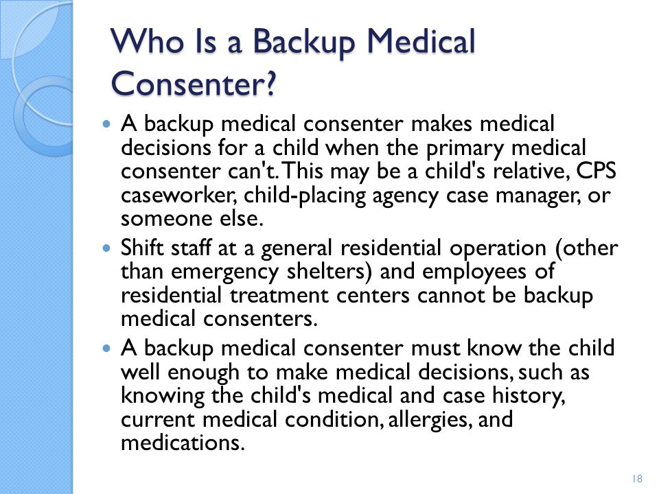Who Is a Backup Medical Consenter