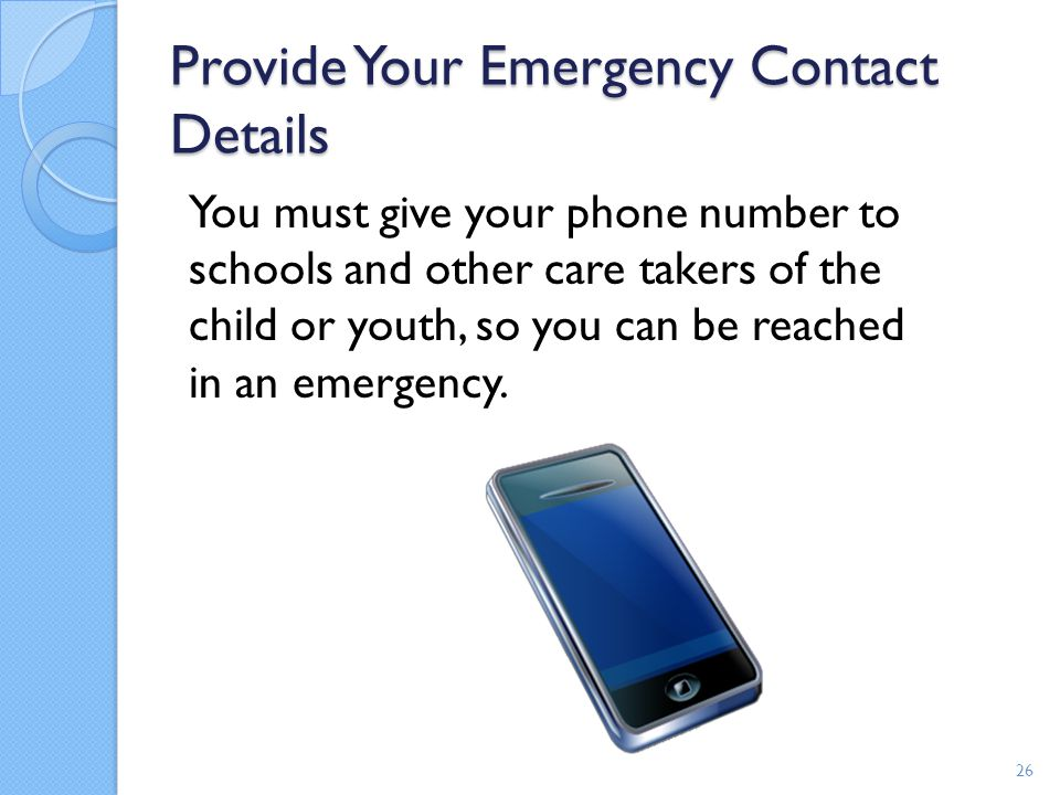 Provide Your Emergency Contact Details
