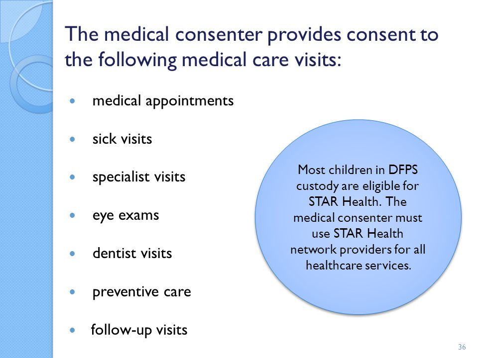 The medical consenter provides consent to the following medical care visits: