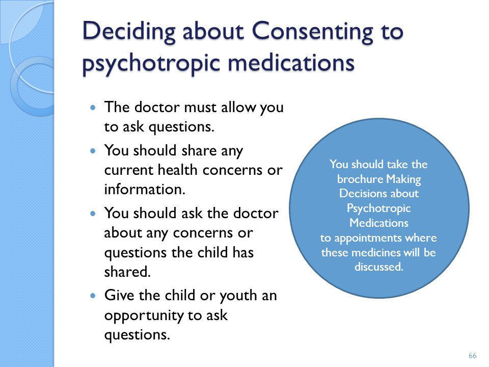 Deciding about Consenting to psychotropic medications