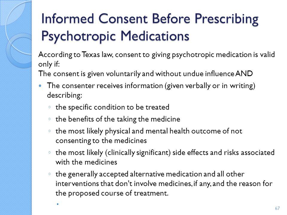 Informed Consent Before Prescribing Psychotropic Medications