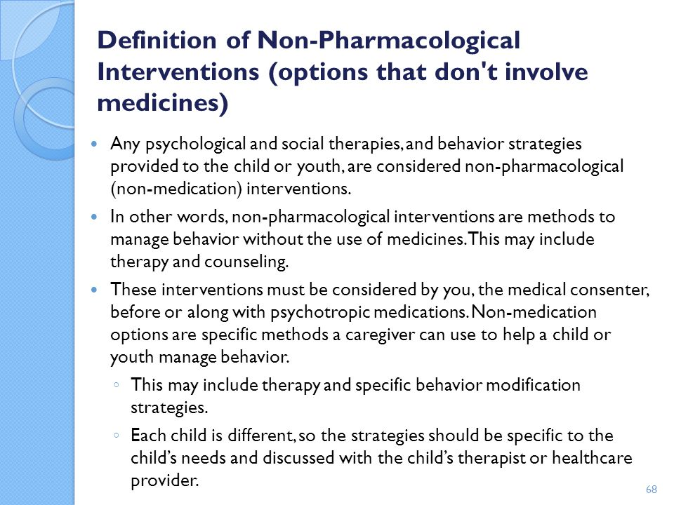 Definition of Non-Pharmacological Interventions (options that don t involve medicines)