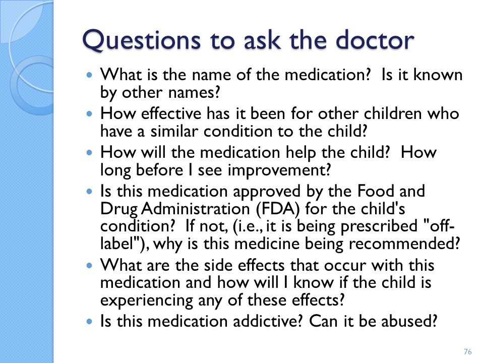 Questions to ask the doctor