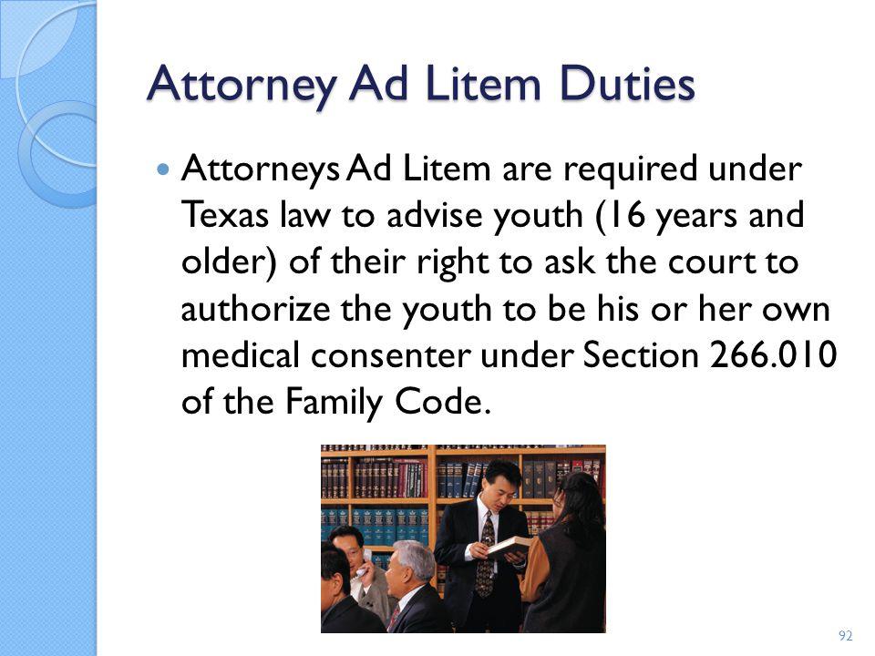 Attorney Ad Litem Duties