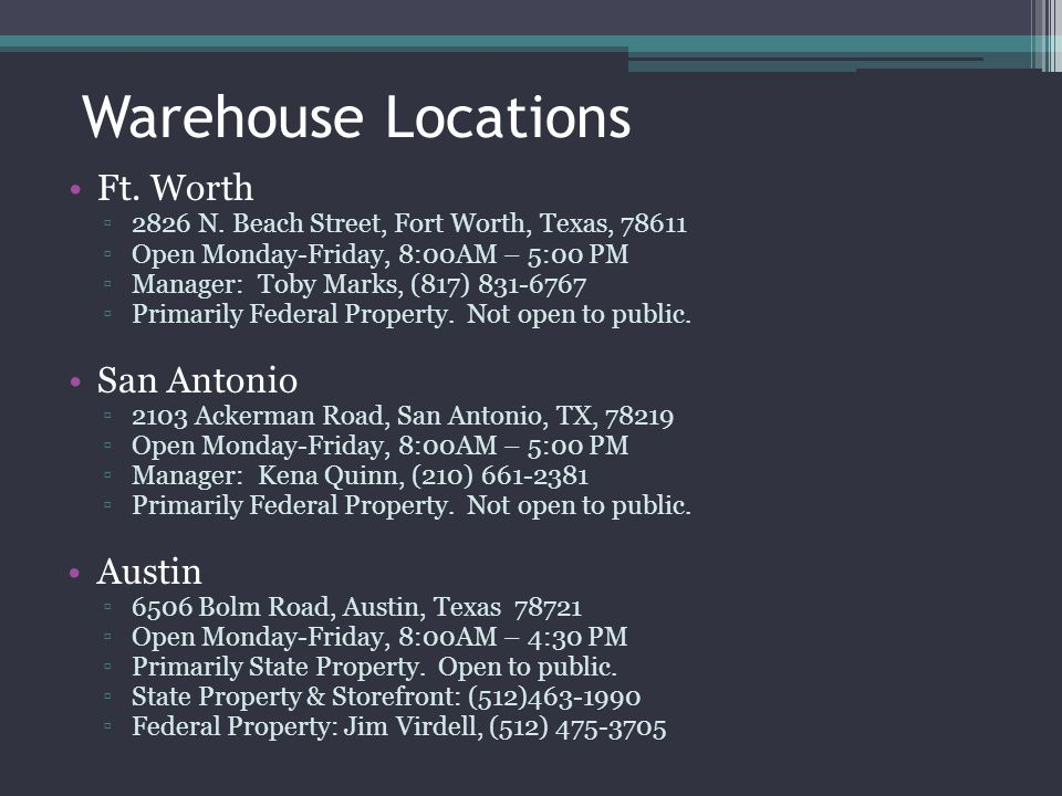Warehouse Locations Ft. Worth San Antonio Austin