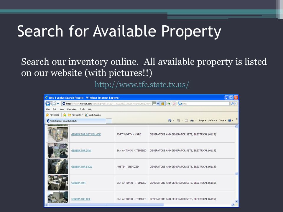 Search for Available Property