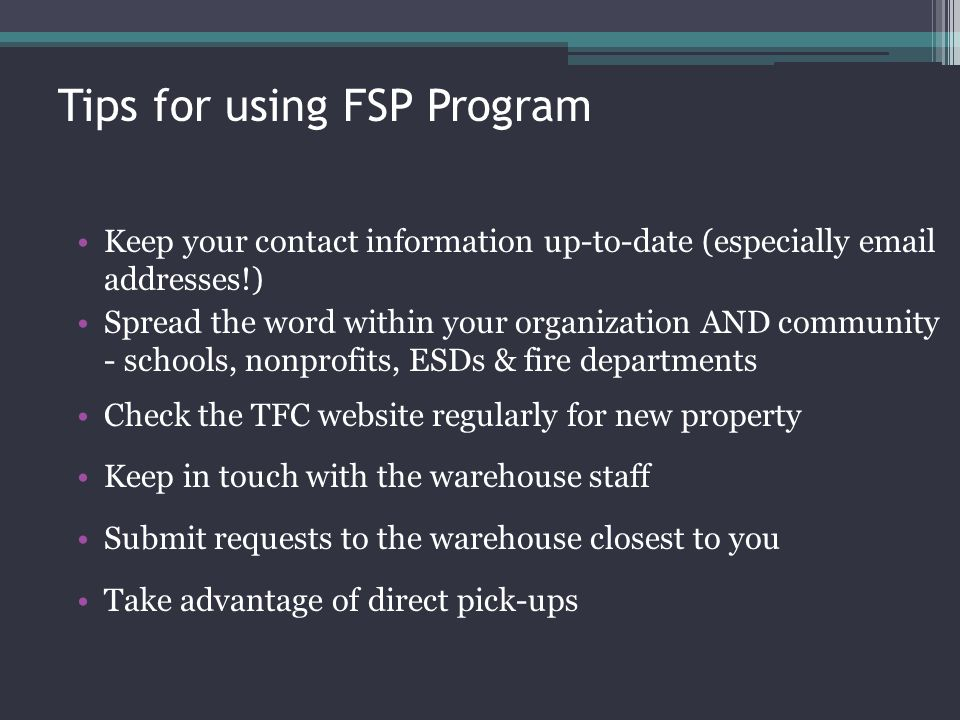 Tips for using FSP Program