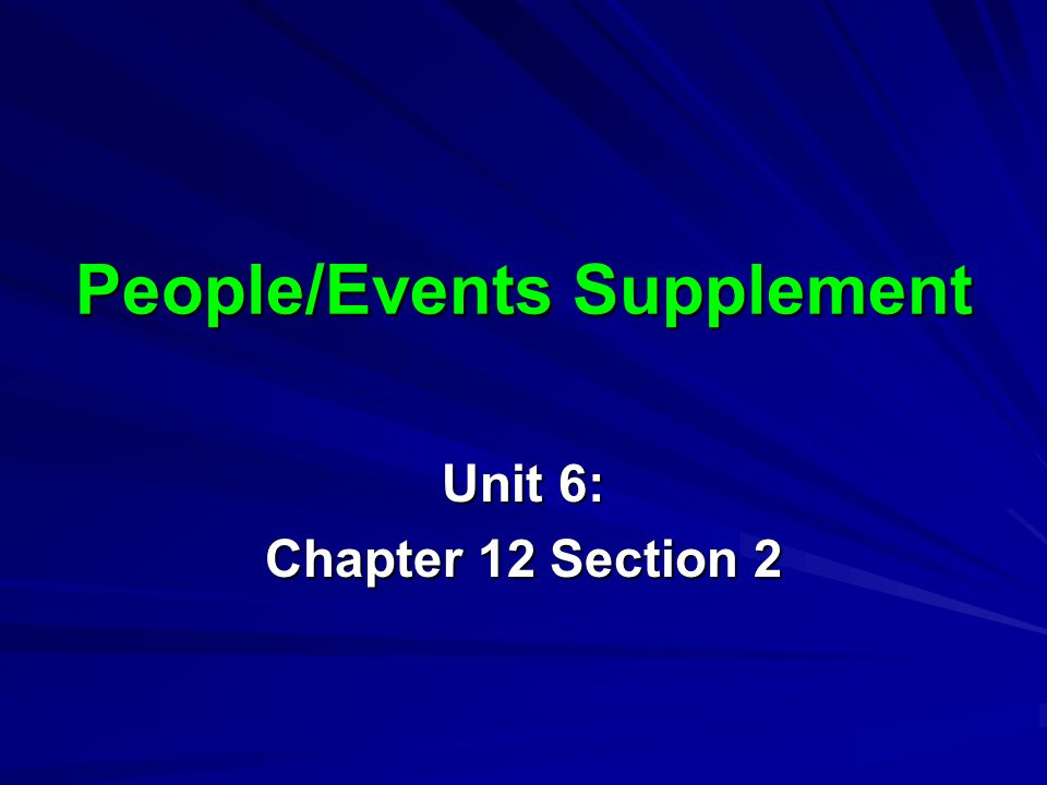 People/Events Supplement
