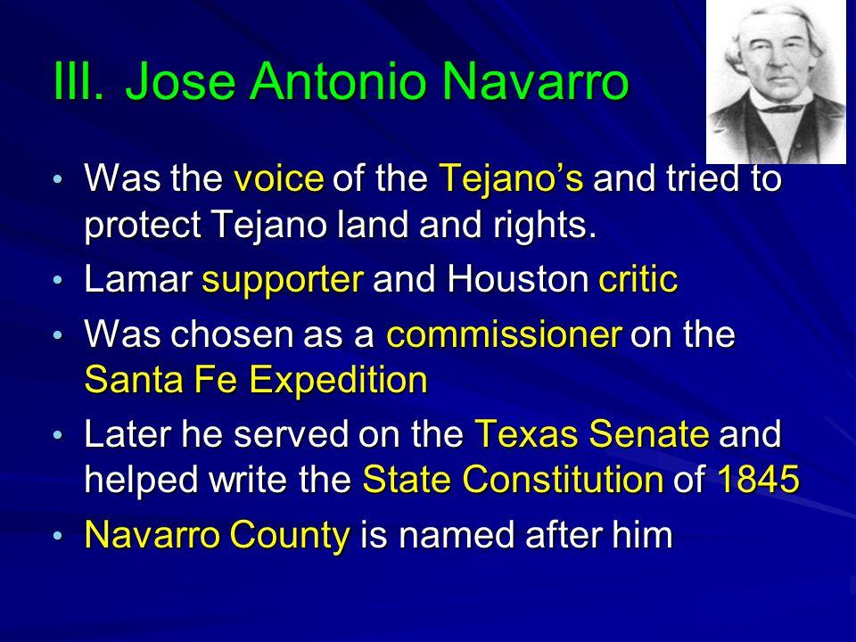 III. Jose Antonio Navarro