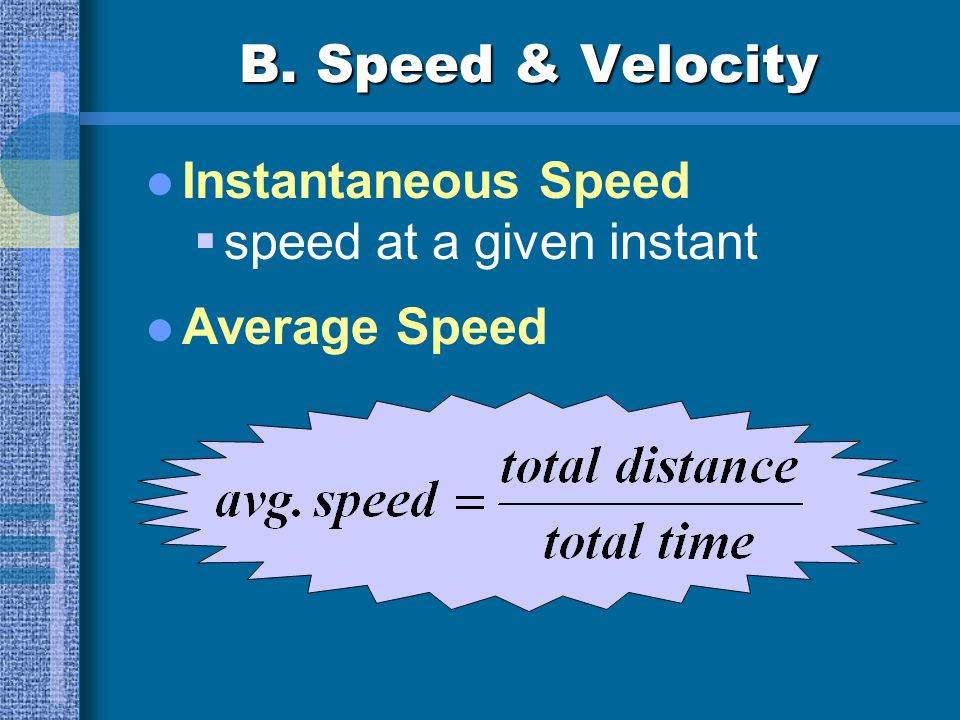 B. Speed & Velocity Instantaneous Speed speed at a given instant