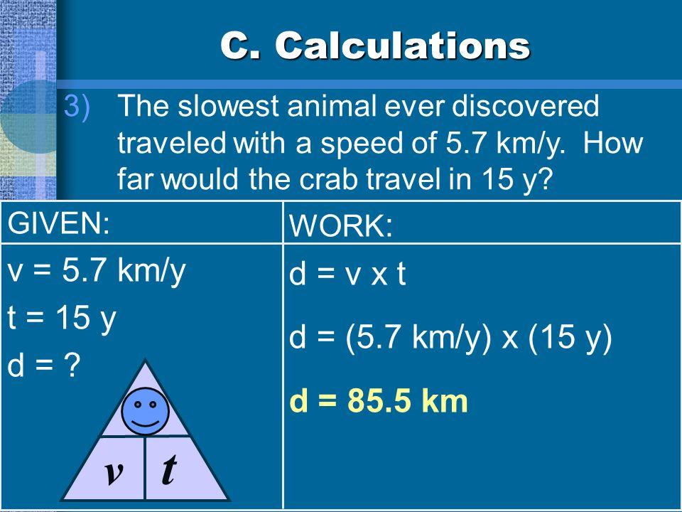 t d v C. Calculations v = 5.7 km/y d = v x t t = 15 y
